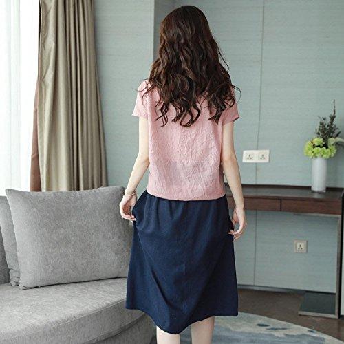 Nouveau Jin de Longueur MiGMV Robe Lin 141 Manches Courtes pour Coton Robe adapt 2018 d't pices est Costume Bleu Moyenne Jupe Femme XXL Robe Deux 150 S565w8dq