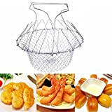 Huayoung 12-in-1 Deep Fry French Chef Basket Magic Basket Mesh Strainer Foldable Steam Strain Useful Cooking Tools (Silver)