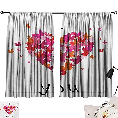 Davishouse Love Sliding Curtains Stylish Heart Figure Filled with Butterflies Soul Mate Real True Deep My Dear Valentines Darkening and Thermal -