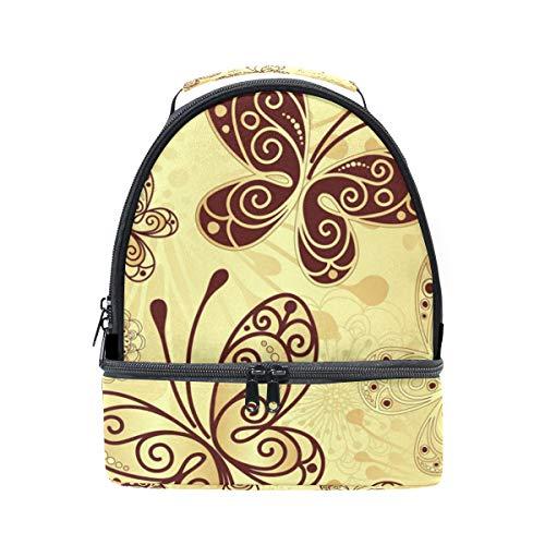 à vintage Pincnic Tote avec lunch Cooler Sac Or Papillon l'école Alinlo pour bandoulière à isotherme Boîte réglable UdH1ZUqxw