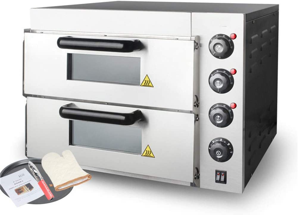Commercial Electric Oven, Two-Layer Two-Plate, High Capacity, Independent Temperature Control, Timing, Uniform Heating for Making Italian Toast and Fried Tortillas