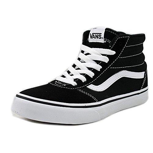 Vans Kids Ward HI Shoes Suede Canvas Black White Size 6