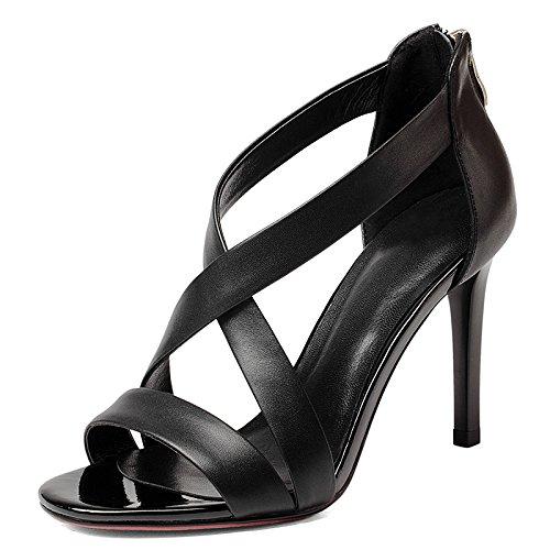 Talón blanco del talón del talón de tacón alto sandalias mujeres de la manera Zapatos Black