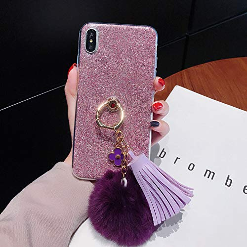 for Galaxy A5 2017 Glitter Case with Ring Holder,Purple Pom Pom Pendant Clear Soft Silicone Phone Case with 360 Degree Rotating Kickstand,QFFUN Shockproof Anti-Scratch Protective Back Cover – Pink