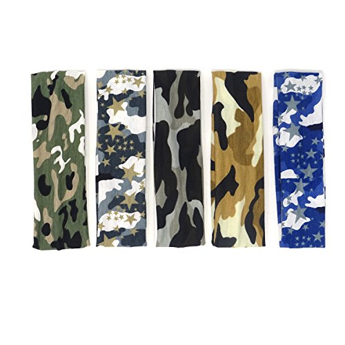 Cotton Track Bandana - HONBAY Headband [Camo] - Outdoor Sports Magic Scarf, 5pcs Outdoor Headbands, Elastic Cotton Headbands, Bicycle Bandanas Head Wrap for Teens, Boys, Men and Women