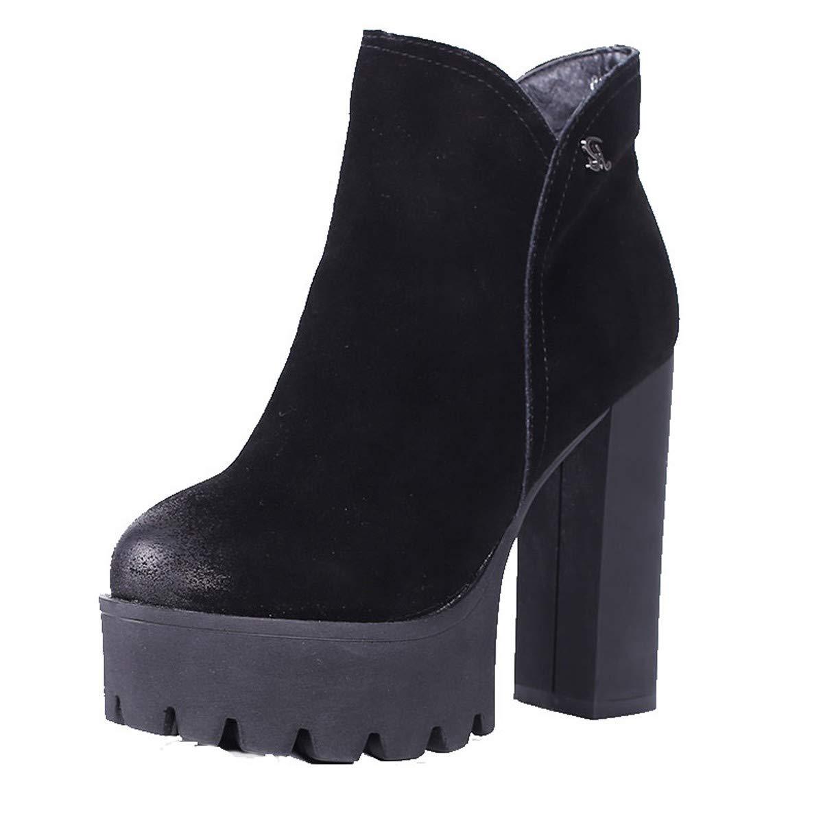 LBTSQ-Leder Runden Kopf Dicke Sohle Wasserdicht 12Cm Patchwork-Mode High-Heel Schuhe Martin Stiefel Temperament Patchwork