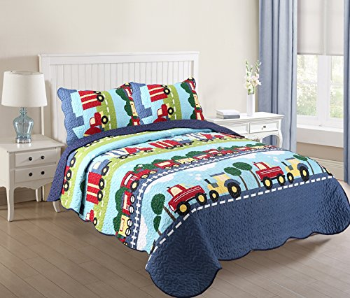 MarCielo 3 Piece Kids Bedspread Quilts Set Throw Blanket for Teens Boys Bed Printed Bedding Coverlet, Full Size ,Trucks Dark Blue (Full) (Return Policy Pottery Barn)