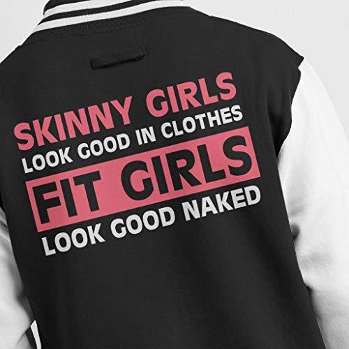 Jacket Men's Girls Skinny Good In Naked Black Clothes Look Text white Varsity Fit v8w8qR6