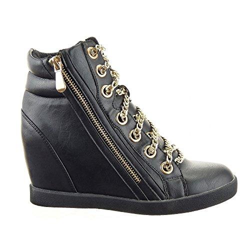 Cheville femmes Talon Fermeture Chaussure CM 9 compensé Or Baskets Montante Mode Zip Noir Intérieur textile compensée Chaïnes Sopily qHw4RXw