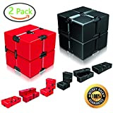 Infinity Cube Fidget Cube Toy Set for Adults & Kids Relieve Stress & Anxiety Cool Hand Fidget Stress Toy Magic Flip Rubiks Cube 2 Pack for ADD,ADHD,OCD,Anxiety Disorder,Autism by Ganowo (Red&Black)