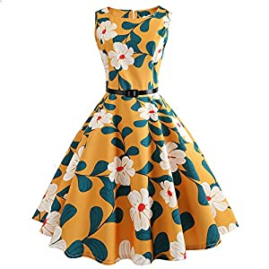 Women's 1950s Classy Cocktail Party Prom Vintage Rockabilly Floral Swing Dress with Belt