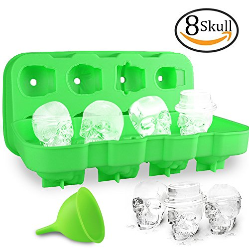 HoneyHolly 3D Skull Ice Cube Mold With Lid, Flexible Food Grade Silicone Ice Cube Chocolate Candy Mold Trays, Perfect For Kids Halloween Gifts, BPA Free - 8 Skull Green