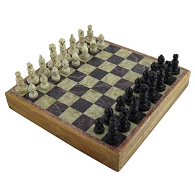 Marble Stone Art Unique India Chess Pieces and Board Set 8 X 8 Inches