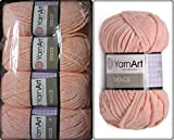 100% Micro Polyester Soft Yarn for Hand Knitting YarnArt Dolce Crochet Lace Embroidery Art Crafts Sewing Kit Baby Blanket Yarn Plush Lot of 4skn 400gr 524yds Color Peach 764