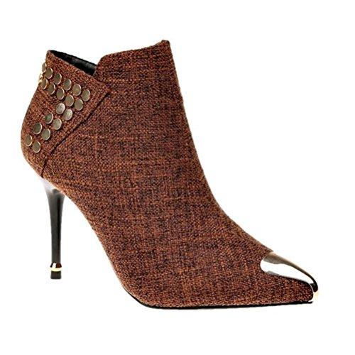 Toman Acentuados Tacón Cremallera Ms Tacones Rematan Zapatos Lvrxjp13 Botas 35 Altos Ocio Las Mujeres Mujer De Cortas Fino Cien Los w4q0zax