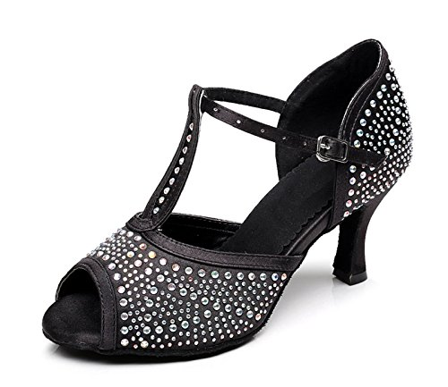 Kevin Fashion Kqj7077 T-correa Para Mujer Satén Latina Salsa Sandalias De Boda Tango Negro