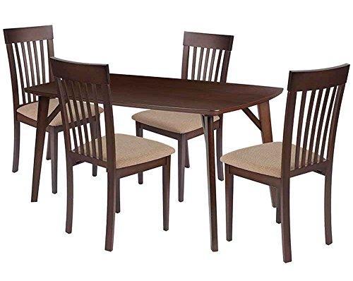Flash Furniture Bromley 5 Piece Espresso Wood Dining Table Set with Rail Back Wood Dining Chairs - Padded Seats - Beechwood Fan Back Chair