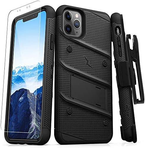 Zizo Bolt Cover - Case for iPhone 11 Pro with Military Grade + Glass Screen Protector & Kickstand and Holster (Black