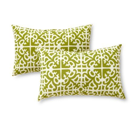Greendale Home Fashions* Lattice Rectangle Outdoor Accent Pillow in Grass, Pack of 2