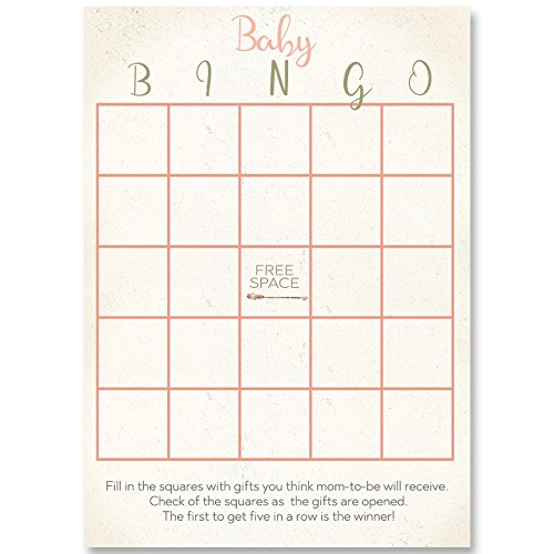 Bohemian Baby Shower, Baby Shower Game, Bingo Games, Pink, Ivory, Vintage, Retro, Watercolor, Game Cards, 24 Printed Cards by The Invite Lady