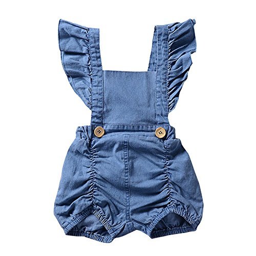 G-real Summer Jumpsuit, Infant Toddler Baby Girls Fashion Ruffle Strap Denim Romper Jumpsuit for 3-18M (Blue, 9M)