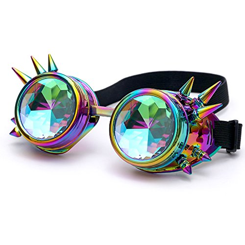 OMG_Shop Chrome Spike Padded Kaleidoscope Effect Goggles Party Glow LED Steampunk (Spikes Colorful) (Head Case Helmet)