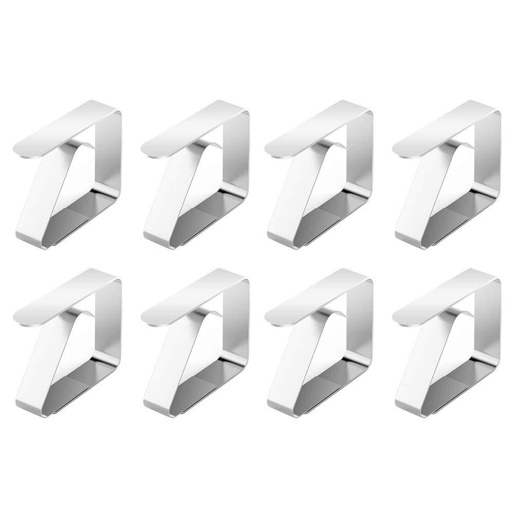 CGBOOM fermatovaglia in Acciaio Inox Tovaglia Copertura Clip, 8 pezzi Copriscarpe per tavolo da gioco Strong Holders for Home Party (Argento)