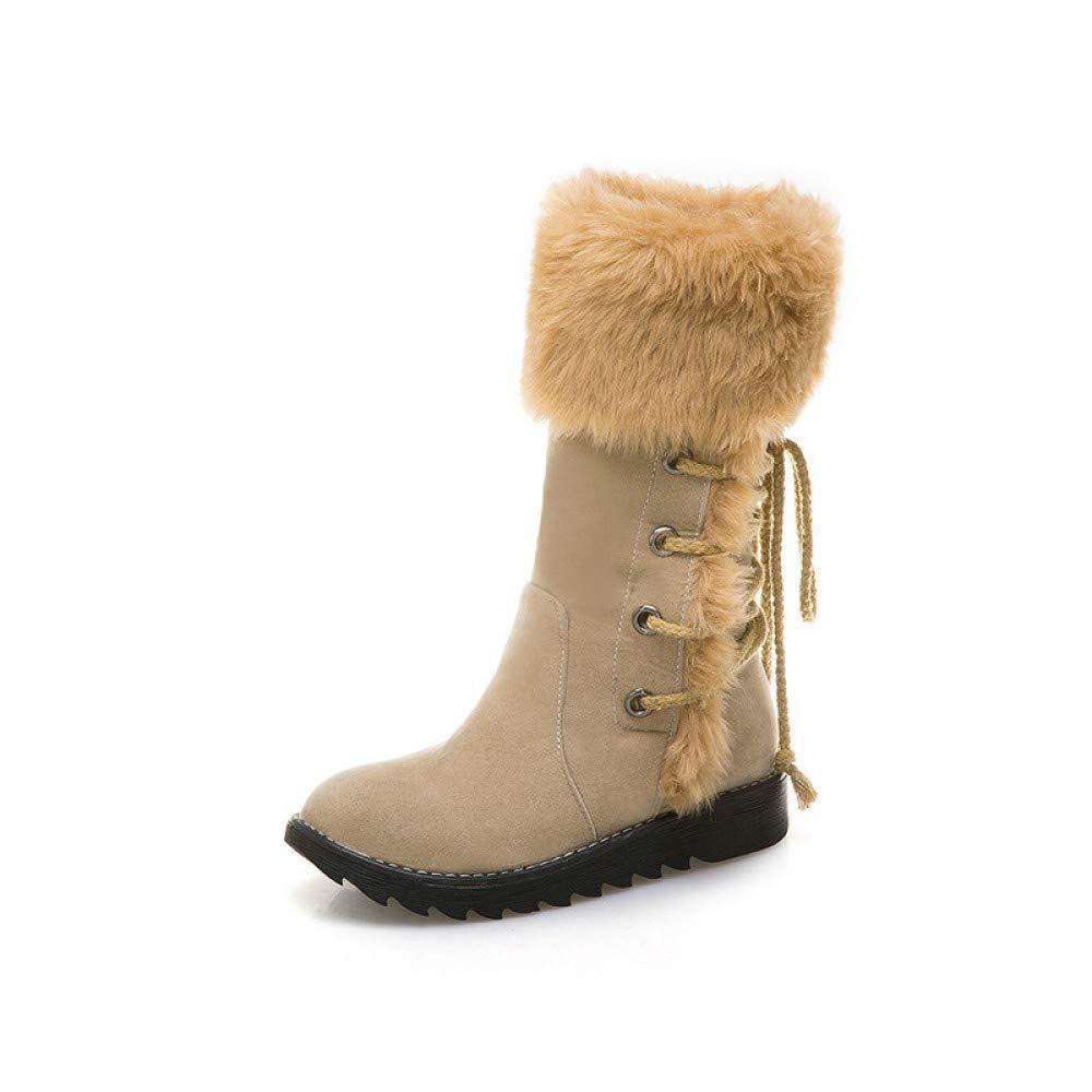 KFDQ Stiefel Für Damen Herbst Und Winter Winter Winter Große Flache Stiefeletten Mit Niedrigem Absatz Warme Atmungsaktive Rutschfeste Stiefel 9bb2f0