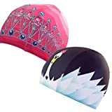 Poolbeanies, Lycra Designer Swim Caps, 2 pack, Tiara in Princess Pink, Swan Lake
