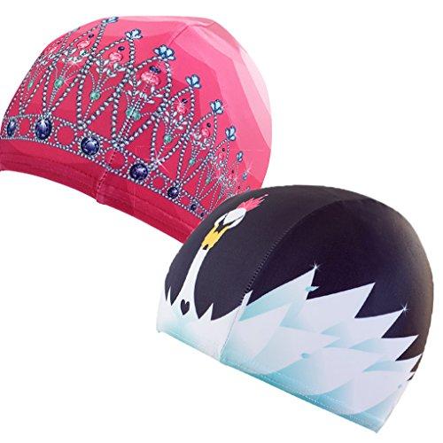 Poolbeanies, Lycra Designer Swim Caps, 2 pack, Tiara in Princess Pink, Swan Lake by Poolbeanies
