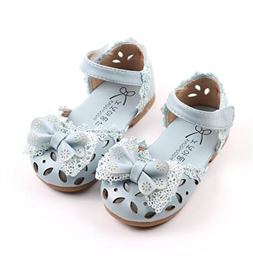 Price comparison product image Baby Girls Princess Sandals Bowknot Lace Girls Shoes Design Kids Soft Shoes Size 21-25 Sky Blue 8