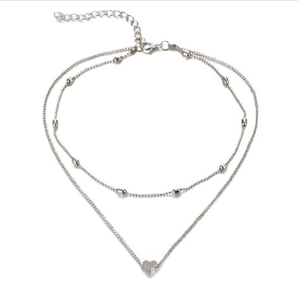 """Zen Styles Women's Mini Floating Heart Pendant Double Strand Choker Necklace with Lobster Clasp Closure, 13""""-14"""" (Silver Tone)"""