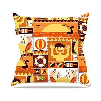 Orange Seasonal Kess InHouse Tobe Fonseca Summer Throw Pillow 20 by 20