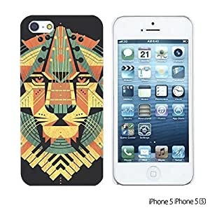 OnlineBestDigital - Cartoon Pattern Hard Back Case for Apple iPhone 5S / Apple iPhone 5 - Yellow Lion Illustration