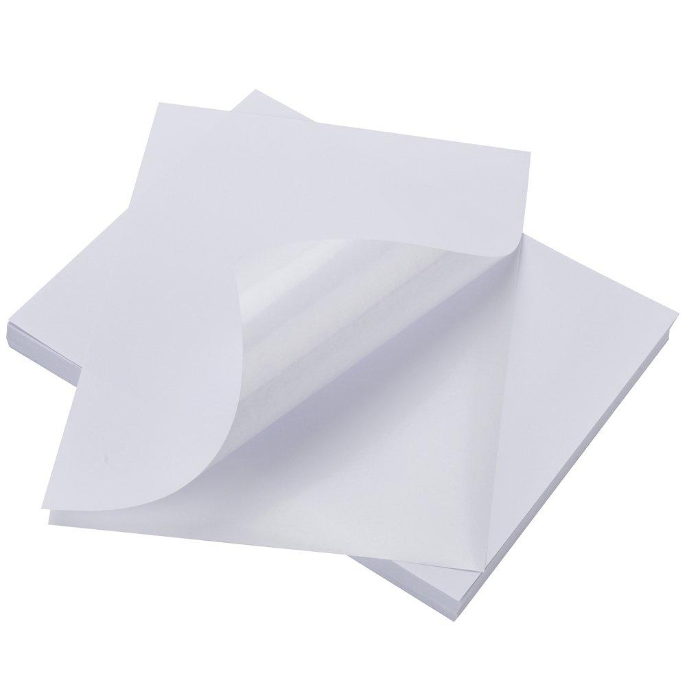 100 Sheets Sticker Labels Compatible Laser/Ink Jet Shipping Labels-Full Sheet (1-up)