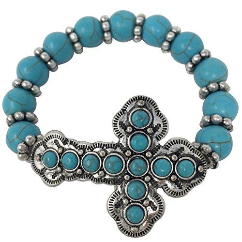 Beaded Sideways Cross Stretch Bracelet - Assorted Colors (Imitation Turquoise - Dot)