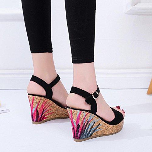Lolittas Gladiator Women Sandals Wedge Platform,Gladiator Pretty High Heel Adjustable Lace up Go Walk Open Toe Wide Fit for Ladies Black Size 2-6 10cm Black
