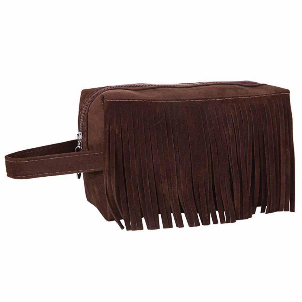Kaxima Stockage de Sac Velours Tassel Portable cosmétiques Lavage de Voyage Sac Grande capacité Sac 20x10x12cm