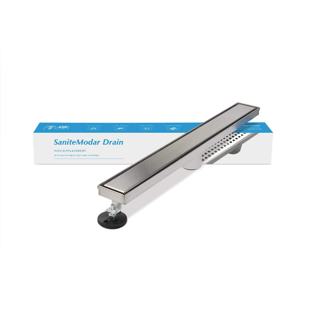 SaniteModar 28-inch Linear Shower Drain comes with Tiled Stealth and 304 Stainless Steel Brushed Polished 2 and 1Panels.TileInsertShowerDrain is Equipped Adjustable Feet,Hair Filters by SaniteModar
