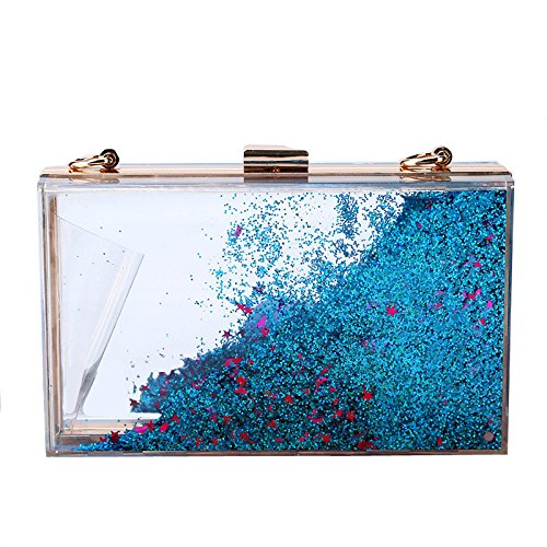 Sparkling Purple Colour Bag Quicksand Multi Choose Color Acrylic Creative Women's To Sequins From Lovely Evening Translucent Rabbit Blue qPagw0