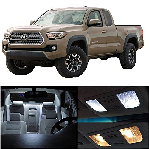 CCIYU 9 Pack White LED Bulb LED Interior Lights Accessories Replacement Package Kit For 2016-2017 Toyota Tacoma