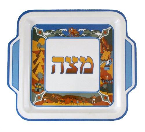 Matzah Plate Passover (Melamine Matzah Tray for Passover Seder - Book of Exodus Design)