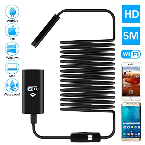 Wireless Endoscope, Auelek 2MP HD WiFi Borescope Semi-rigid Cable Flexible 6 Adjustable LED IP67 Waterproof Endoscope Inspection Snake Camera for Andriod and IOS Smartphone, Samsung, Tablet(16.4 ft)
