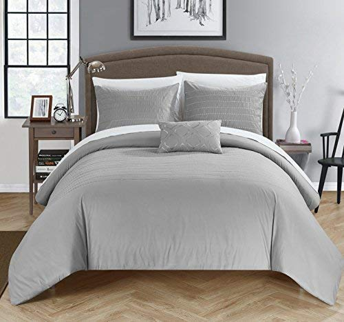 Chic Home 3 Piece Bea Embroidered Duvet Cover Set Shams and Decorative Pillow, Twin, Grey