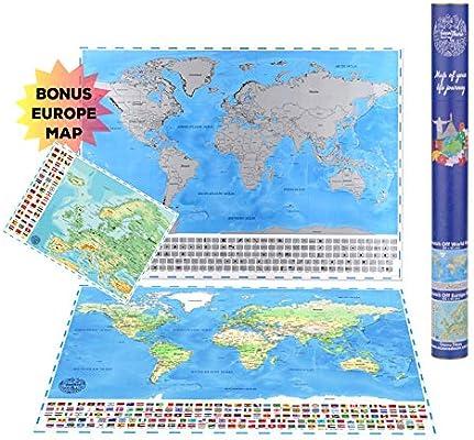 Póster grande de mapa del mundo para rascar (84 x 60 cm) con ...