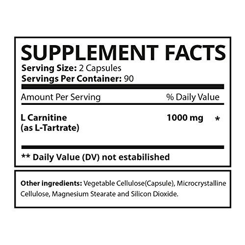 EBYSU L-Carnitine Tartrate - 180 Capsules 1000mg Max Strength Pure L Carnitine Supplement by EBYSU (Image #1)