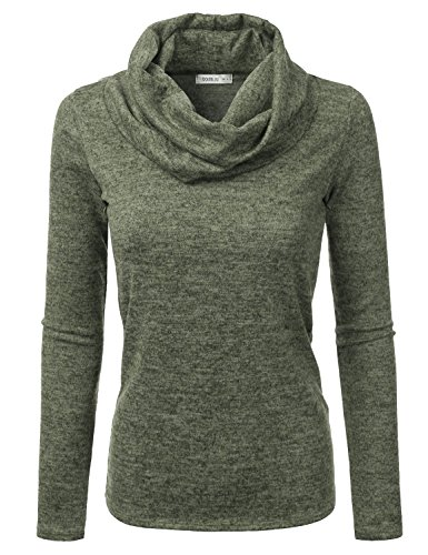 Doublju Cowl Neck Heather Knit Sweater Top For Women With Plus Size (Made In USA) OLIVE - Olive Green Heathered
