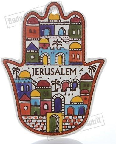 JERUSALEM دیوار آویز برای محافظت از سرامیک حمام دست روح هدیه جذابیت خوش شانس