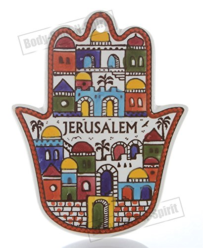 (JERUSALEM Wall hanging For Protection Ceramic Hamsa hand soul lucky charm gift)