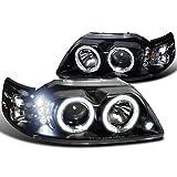 Spec-D Tuning 2LHP-MST99JM-TM Ford Mustang Led Halo Black Projector Head Lights